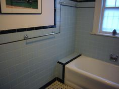 1940s Bathrooms | Black and blue retro/ vintage tile bathroom from the 1940s with black ...