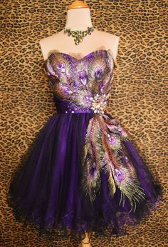 Great Carnival cocktail dress. Feathers, purple, gold, crystals, sparkle!