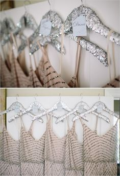 hang your bridesmaids dresses on silver sequin hangers like these http://www.weddingchicks.com/2014/03/11/newport-beach-glittery-pink-wedding/