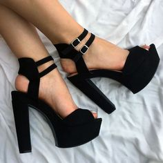 You better make sure you're all strapped in. These chunky platform heels are about to take you for a wild ride!