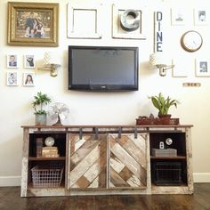 reclaimed wood barn door console beautiful distressed chippy paint—Ana White makes lovely things; lots of great creative ideas! Barn Door Tv Stand, Barn Door Console, Wood Barn Door, Diy Barn Door, Barn Doors, Console Table, Sliding Doors, Console Cabinet, Cabinet Doors