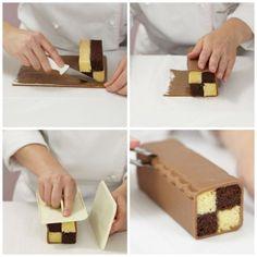 Descubre cómo montar un battenberg cake, paso a paso. Con fotografías del libro de Peggy Porschen Boutique de Pastelería. Instrucciones sencillas.