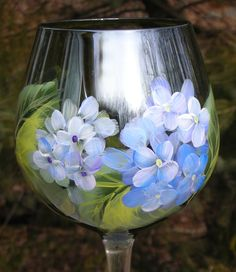 Blue & White Hydrangeas Hand Painted Green Wine Glass