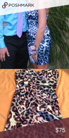 Leopard dress Blue and purple dress. Perfect condition. Worn once Arden B Dresses Strapless