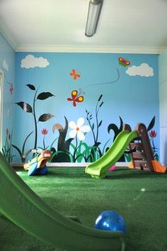 """This would be a great idea. Decorate a portion of the play room to look like outside, put playground equipment in it. Can play """"outside"""" even on a rainy or cold day!"""