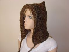 SALE Green Brown Rust Multicolor Prairie Hood by OtiliaBoutique