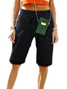 d71f80771eed Etecredpow Womens Elastic Waist Loose Solid Summer Bermuda Casual Shorts