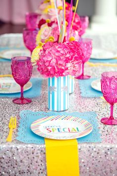 Place setting from a Glam Carnival Birthday Party on Kara's Party Ideas | KarasPartyIdeas.com (37)