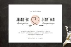 """Lovestruck"" - Whimsical & Funny, Hand Drawn Wedding Invitations in Blush by Kim Dietrich Elam."