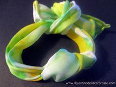 a silk knot, an unique bracelet, handpainted www.ilgiardinodellacerorosso.com