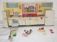 Vintage stamped tin Pretty Maid toy, doll kitchen by Marx with accessories #Marx