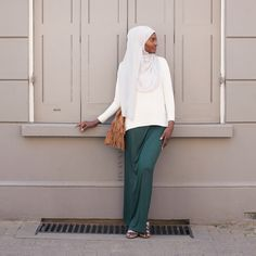INAYAH | White Crepe #Top + Emerald Maxi #Skirt + Light Grey Georgette #Hijab www.inayahcollection.com