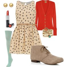 WINNING! Birdy dress / Reddish cardigan / tan oxfords / lt. teal tights