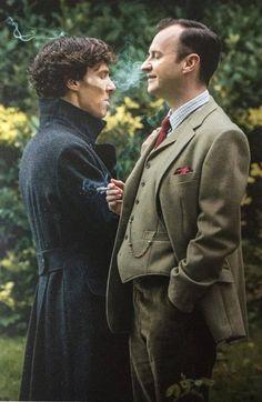 SHERLOCK (BBC) ~ Sherlock Holmes (Benedict Cumberbatch) and his brother Mycroft Holmes (Mark Gatiss).