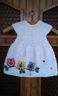 "Ana da Silva [ ""No pattern, looks like chevron chic baby dress w owl motif simil… – Stricken sie Baby Kleidung Baby Girl Crochet, Crochet Baby Clothes, Crochet For Kids, Crochet Dresses, Knit Dress, Crochet Children, Owl Dress, Crochet Crafts, Crochet Projects"