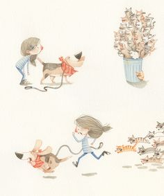 Style example for children's book. While the characters ultimately changed, the style stayed similar.