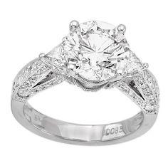 18K White Gold 3.02Ct Diamond Engagement Ring EGL Certified