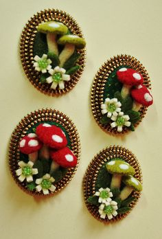 *FELT ART ~ Mushroom brooches by woolly fabulous, via Flickr