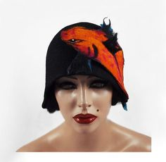 Felted Hat Koi Hat Black Cloche Hat Jazz flapper Hat by filcant