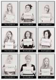 Bridesmaids mugshots - morning after the bachelorette party! cute idea
