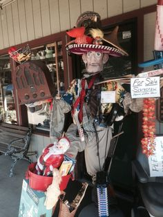 Cambria, CA held a Halloween contest with the scarecrow contestants displayed at stores all over town.