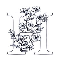 Alphabet Coloring Pages, Colouring Pages, Coloring Books, Flower Embroidery Designs, Embroidery Patterns, Letter H Design, Peony Drawing, Embroidery Alphabet, Floral Letters