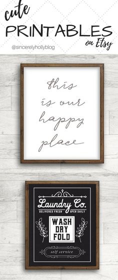 These printable are SO FREAKING CUTE!!! You can find them on Etsy {Always Sunny Co}!!! I love the farmhouse feel of these two ... EASY decor to use in your living room, dining room, LAUNDRY ROOM ;) ... these little guys are able to be downloaded instantly, too! farmhouse decor, farmhouse style, living room inspiration, laundry room inspiration, rustic chic, fixer upper style, cottage charm.