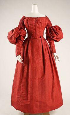 Silk dress, dated c. 1837, American. Metropolitan Museum of Art collection - 37.192.