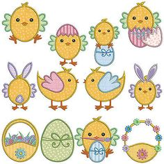 Easter chickens * #machine #applique #embroidery patterns * 12 designs in 2 sizes,  View more on the LINK: http://www.zeppy.io/product/gb/2/171819323332/