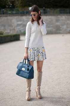 STREET STYLE SPRING 2013: PARIS FASHION WEEK - Hanneli makes a statement in Acne's lace-up boots.