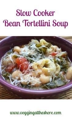 Soak beans overnight and add them to the slow cooker with a bunch of vegetables for a fresh and delicious easy vegetarian soup.  Perfect for a snowy day, sunny day or any day!