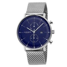 Akribos XXIV Men's Swiss Quartz Dual-Time Stainless Steel Mesh Silver-Tone Strap Watch - Free Shipping Today - Overstock.com - 16785464