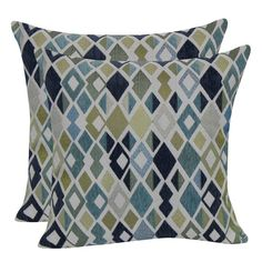 Geometric Jacquard Throw Pillow with Suede Back - Blue - 18x18. Image 1 of 1.