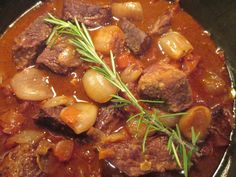 Greek beef stifado-Seasoned beef in a rich sauce pairs well with egg noodles or boiled new potatoes