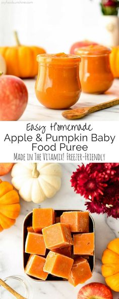This Homemade Apple & Pumpkin Baby Food Puree is an easy & healthy recipe to feed your baby this fall! Only 3 ingredients (pumpkin, apples & water) means that it's naturally gluten-free, dairy-free, & vegan with no preservatives, food coloring or additive