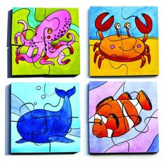 Set of 4 illustrated puzzles, each with 4 pieces. Puzzle size 10 x Teaching Kids, Teaching Resources, Eyfs, Primary School, Puzzles, British Schools, Wildlife, Size 10, Kids Rugs