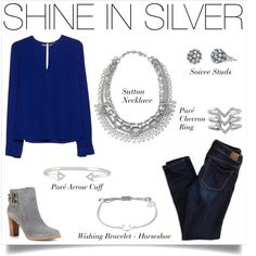 Shine In Silver with Stella & Dot accessories, a blue top, faded jeans and faux suede booties. #stelladotstyle