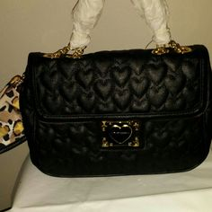 Selling this Betsey Johnson Black Quilted Hearts Satchel on Poshmark! My username is: rebelbling. #shopmycloset #poshmark #fashion #shopping #style #forsale #Betsey Johnson #Handbags