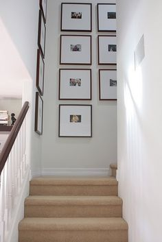 Ideas Wall Frames Collage Stairways For 2019 Photo Gallery Hallway, Stairway Gallery Wall, Gallery Walls, Stairway Photos, Stairway Art, Frame Wall Collage, California Homes, My Living Room, Living Spaces