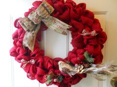 Christmas Red Burlap Door Wreath with Bow by ChloesCraftCloset, $40.00