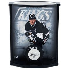 Wayne Gretzky Los Angeles Kings Upper Deck Autographed Logo Puck with Curved Display Case - Upper Deck - $699.99