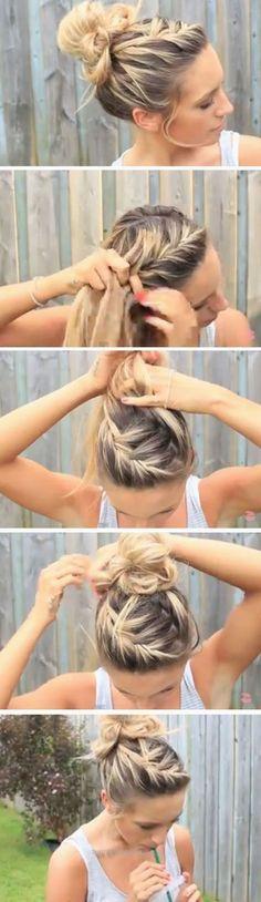 Einfache unordentliche Brötchen für langes Haar