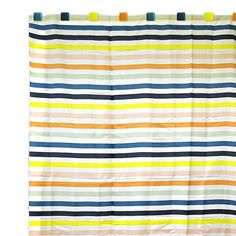 The Beach Stripe shower curtain is a colorful addition to any bathroom decor. The water-resistant curtain is generously sized at 72 x 72 inches and well constructed of 100-percent polyester.