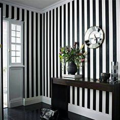 Striped wallpaper bedroom black and white ideas Black And White Interior, Black And White Wallpaper, Black White, Flur Design, Wall Design, Casa Pop, Bedroom Black, Striped Walls Bedroom, Striped Room