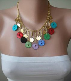 Colorful Button Necklace with Chain Speacial by SwedishShop