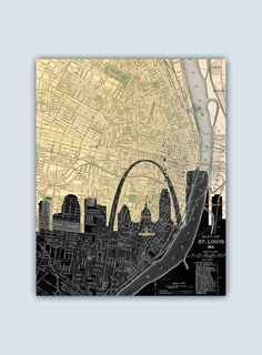 St Louis Skyline, St Louis Map, St Louis Art Print, St Louis Wall Art…