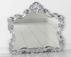 French Silver Leaf Overmantle Mirror