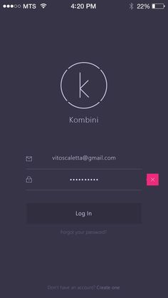 Kombini Log In screen by Vitaly Rubtsov: