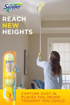 Swiffer Duster Super Extender reaches up to 6 feet to capture dust in the highest places. The dual-head has four times more trap and lock power, and the fluffy fibers remove dust for good.