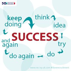 Its all about how to be successful, think - idea - try - do - do again - and again - keep doing = success www.iloverecruitment.wordpress.com #iloverecruitment